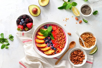 Smoothie bowl with ingredients for cooking, top view © fortyforks