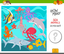 Count The Sea Animals Activity Game Sticker