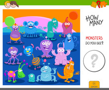 Count The Funny Monsters Activity Worksheet Sticker
