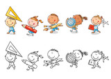 Set of cartoon school kids holding different school objects - 218827950