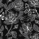 Seamless vector pattern with roses and butterflies on a black background.