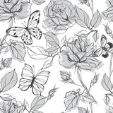 Seamless vector pattern with roses and butterflies on a white background.