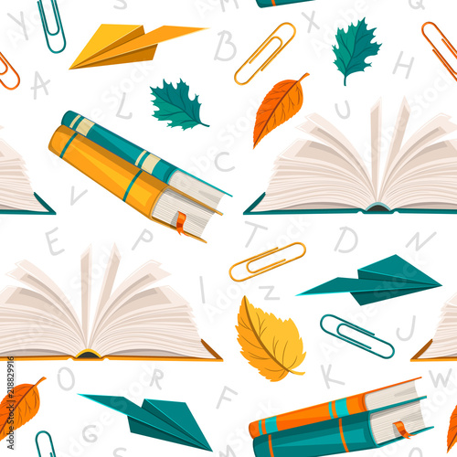 A seamless pattern with books, paper planes and paper clips - 218829916