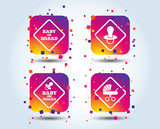 Baby on board icons. Infant caution signs. Child buggy carriage symbol. Colour gradient square buttons. Flat design concept. Vector