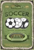 Football or soccer sport vector retro poster