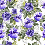 Bright watercolor flowers seamless pattern with iris and anemones. - 218851508