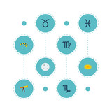 Set of astronomy icons flat style symbols with constellation, moon, virgo and other icons for your web mobile app logo design.
