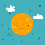 Cute moon with face and slogan sweet dreams. Vector hand drawn illustration. - 218855571