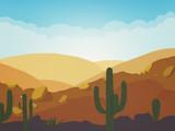 Desert landscape with cactus silhouette in cartoon illustration.