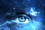 Close up of human eye on futuristic artificial intelligence cyberspace network background. - 218859560