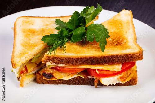 Fototapeta Delicious chicken sandwich