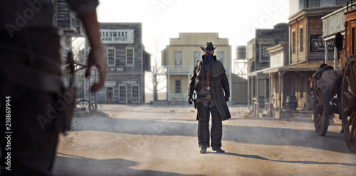 Western outlaw facing off against a cowboy in a classic gunfight in the center of town. 3d rendering - 218869944