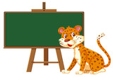 A leopard and blackboard banner