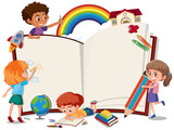 Children on the blank book - 218883303
