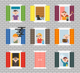Various neighbors seen through the windows of the building walls. flat design style vector graphic illustration set - 218894120
