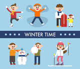 Cute characters playing various games to enjoy in winter. flat design style vector graphic illustration set