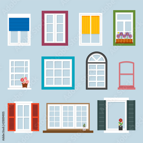 Various Kind Of Windows Flat Design Style Vector Graphic Ilration Set