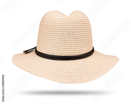 ff0ea2dd944 Vintage straw hat with black rope isolated on white background. ( Clipping  path )