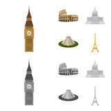 Sights of different countries cartoon,monochrome icons in set collection for design. Famous building vector symbol stock web illustration.