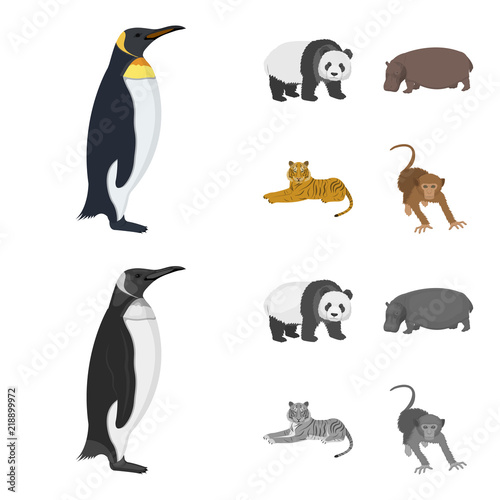 Bamboo bear, hippopotamus, wild animal tiger, monkey . Wild animal set collection icons in cartoon,monochrome style vector symbol stock illustration web. - 218899972