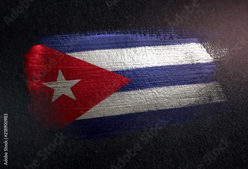 fototapeta na ścianę Cuba Flag Made of Metallic Brush Paint on Grunge Dark Wall