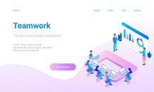 Modern Flat Design Hero Image  Miniature People Are Working Together Concept For Teamwork Responsive Landing Page Sticker