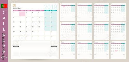 Portuguese calendar 2019 / Portuguese calendar planner 2019, week starts on Monday, set of 12 months January - December, simple calendar template, set desk calendar template, vector illustration
