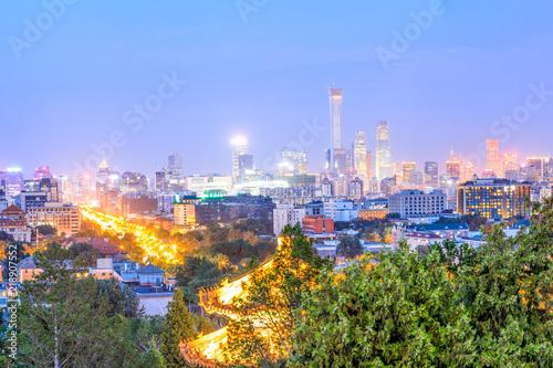 Fototapeta Beautiful city skyline and modern buildings in Beijing at night