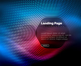 Neon glowing techno hexagon shape lines, hi-tech futuristic abstract background, landing page template - 218910518
