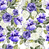 Bright watercolor flowers seamless pattern with roses, iris and anemones.  - 218913391