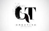 GT G T Letter Logo Design with Black Ink Watercolor Splash Spill Vector.