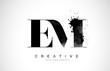 EM E M Letter Logo Design with Black Ink Watercolor Splash Spill Vector.