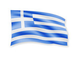 Waving Greece flag on white. Flag in the wind.
