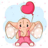 Cute elephant with pink balloon. Vector eps 10.