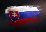 Slovakia Flag Made of Metallic Brush Paint on Grunge Dark Wall