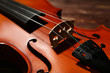 Violin on wooden table