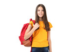 Young girl with backpack on white background - 218935783