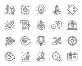 Ikony linii startowej. Zestaw ikon uruchamiania projektu, raportu biznesowego i celu liniowego. Symbole strategii, planu rozwoju i rakiety kosmicznej. Balon powietrzny, Out of the Box i innowacje biznesowe. Wektor