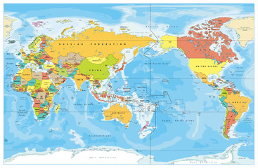Pacific Centered World Colored Map