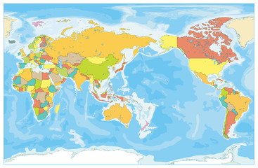 Pacific Centered World Colored Map and Bathymetry. No text