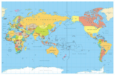 Pacific Centered World Colored Map. No Bathymetry