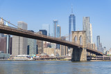 Manhattan skyline and Brooklyn Bridge in daytime - 218951184