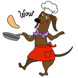 Cartoon dachshund dog chef character - 218958721