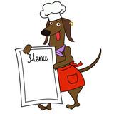 Cartoon dachshund dog chef character - 218958993