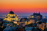 Belgrade panorama with the temple of St. Sava and sunset
