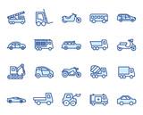 Autos, Fahrzeuge Vector Icon Illustraton Set