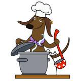 Cartoon dacshund dog chef character - 218962330
