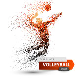 Volleyball player. Dot game illustration. Vector eps 10 - 218968174