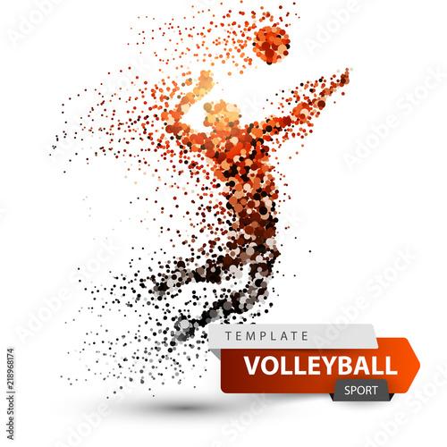 Fototapeta Volleyball player. Dot game illustration. Vector eps 10