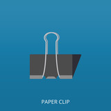 Opened paper clip on blue background. Flat icon, vector illustration - 218974180